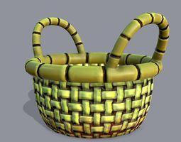 Basket stylized 3D asset