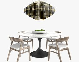 Restoration Hardware anders chair aero table 3D model 1