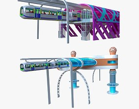 3D Monorail stations with train