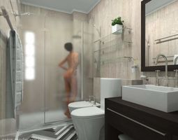 Shower Woman - High poly Human People Nude 3D