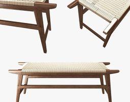 Mid Century Bench in solid walnut 3D