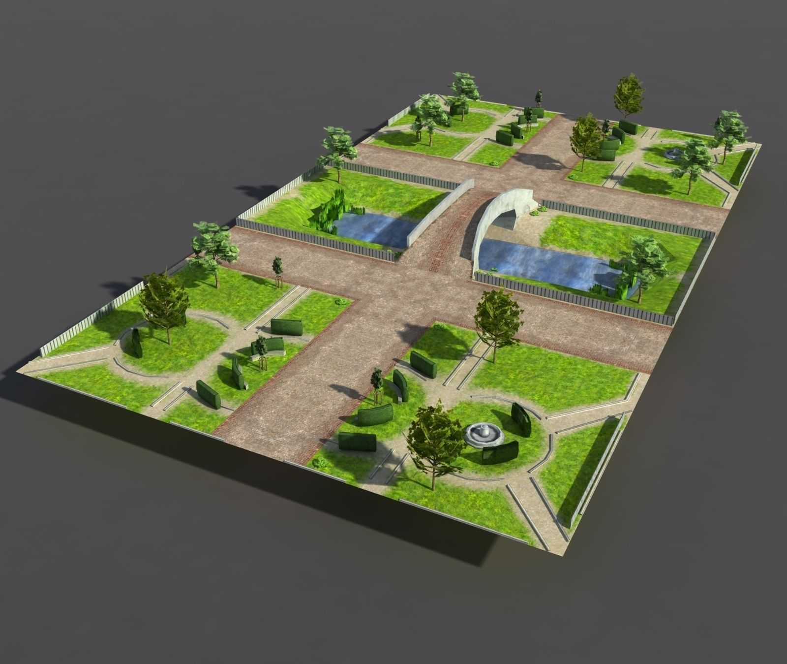 Architect 3d Garden And Exterior 20: 3D Model Low Poly Park VR / AR / Low-poly MAX OBJ 3DS LWO