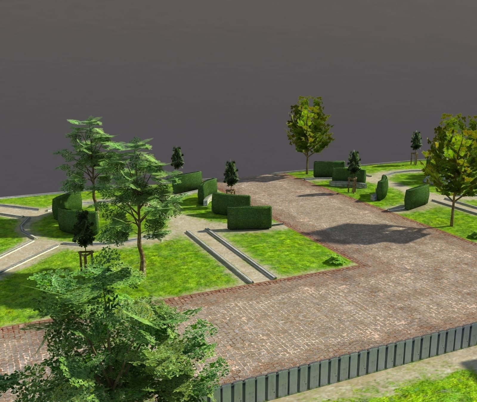 Low Poly Park 3d Model Game Ready Max Obj 3ds Lwo Lw