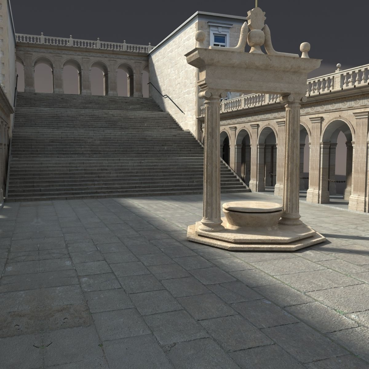 Montecassino Castle - Patio 3D Model .3ds .mtl - CGTrader.com