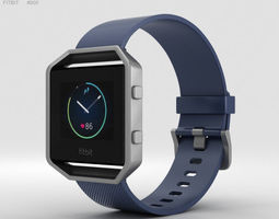3D model Fitbit Blaze Blue-Silver