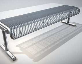 3D Modern Metal Lattice Bench Low and High Poly