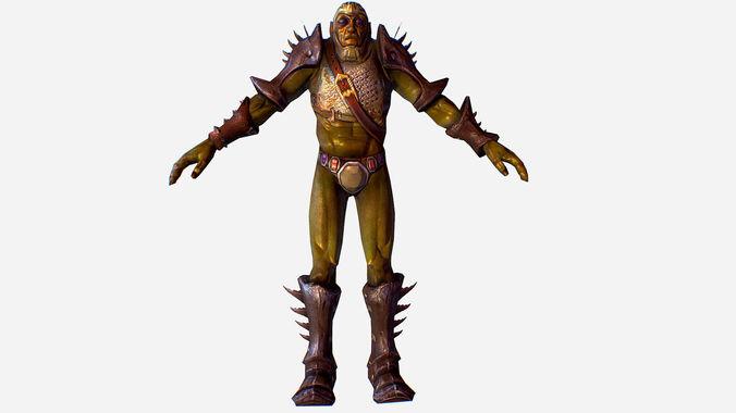 game mmo rpg character armored green troll org 3d model max obj mtl fbx ma mb tga 1