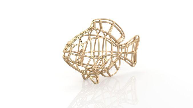 lines pendant fish 3d model stl 3dm 1