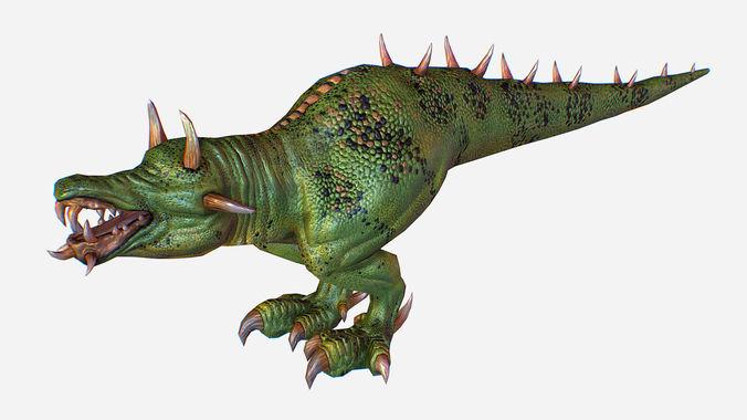 game mmo rpg character green lizard dragon 3d model max obj mtl fbx ma mb tga 1
