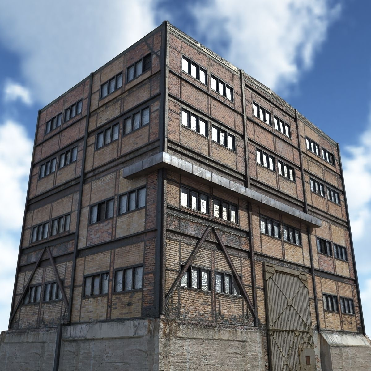 Old Factory Low Poly 3d Building 3D Model Game Ready .max