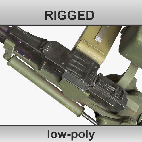 3d russian soviet machine gun t 72 utes rigged low-poly 3d model max 1