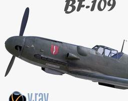 VR / AR ready 3D model BF-109 German fighter V-Ray 2