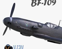 3D model BF-109 German fighter V-Ray materials realtime 1
