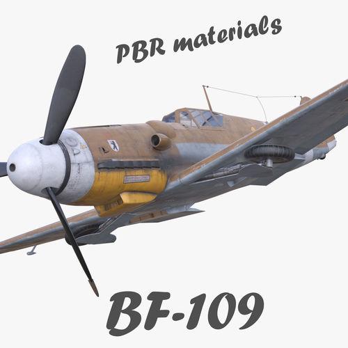 BF-109 German fighter PBR materials 3d model 3D model orange