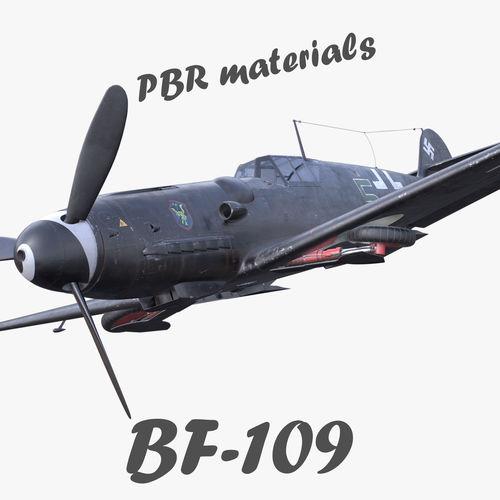 BF-109 German fighter PBR materials 3D model black