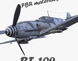 VR / AR ready BF-109 German fighter PBR materials 3d model