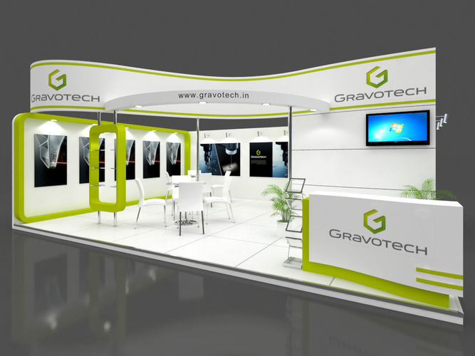 exhibition stall 3d model 8x6 mtr 2 sides open gravotech stand 3d model max 1