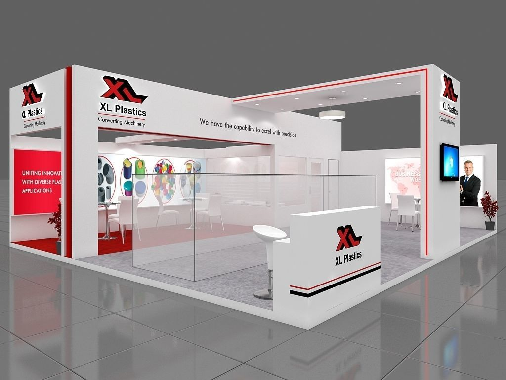 Exhibition Stand Lighting Xl : Exhibition stall 3d model 10x8 mtr 2sides open 2