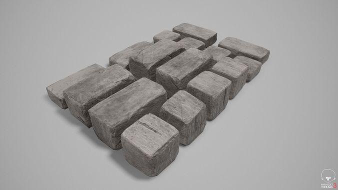 stone blocks 01 - var01 4k-pbr  3d model low-poly max obj mtl 3ds fbx 1