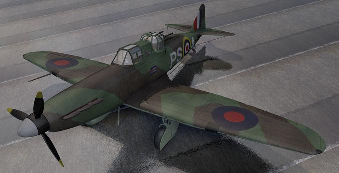 british ww2 fighter collection 01 3d model obj mtl 3ds fbx c4d lwo lw lws dae 1