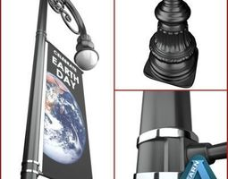 3D Street Lamp With Banner