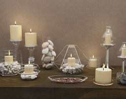 3D model Candle decoration set