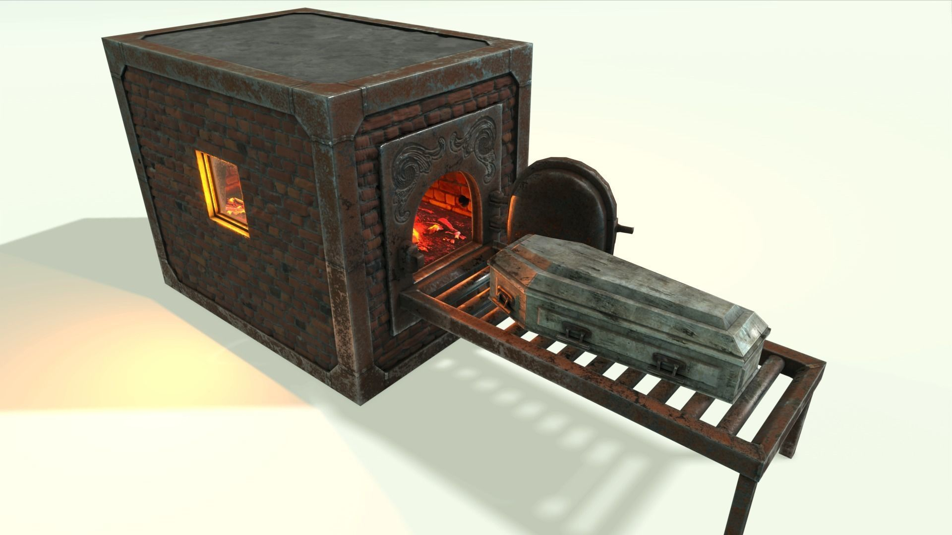 Low Poly Vintage Cremation Furnace  With PBR Materials