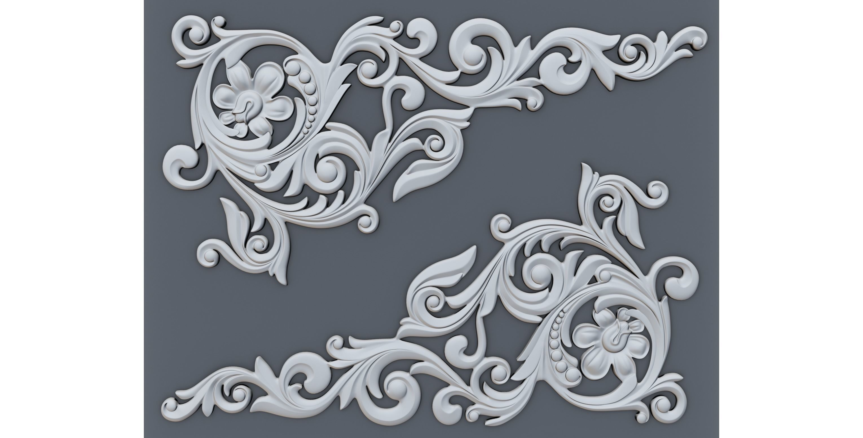 Classic baroque onlay corner element 002