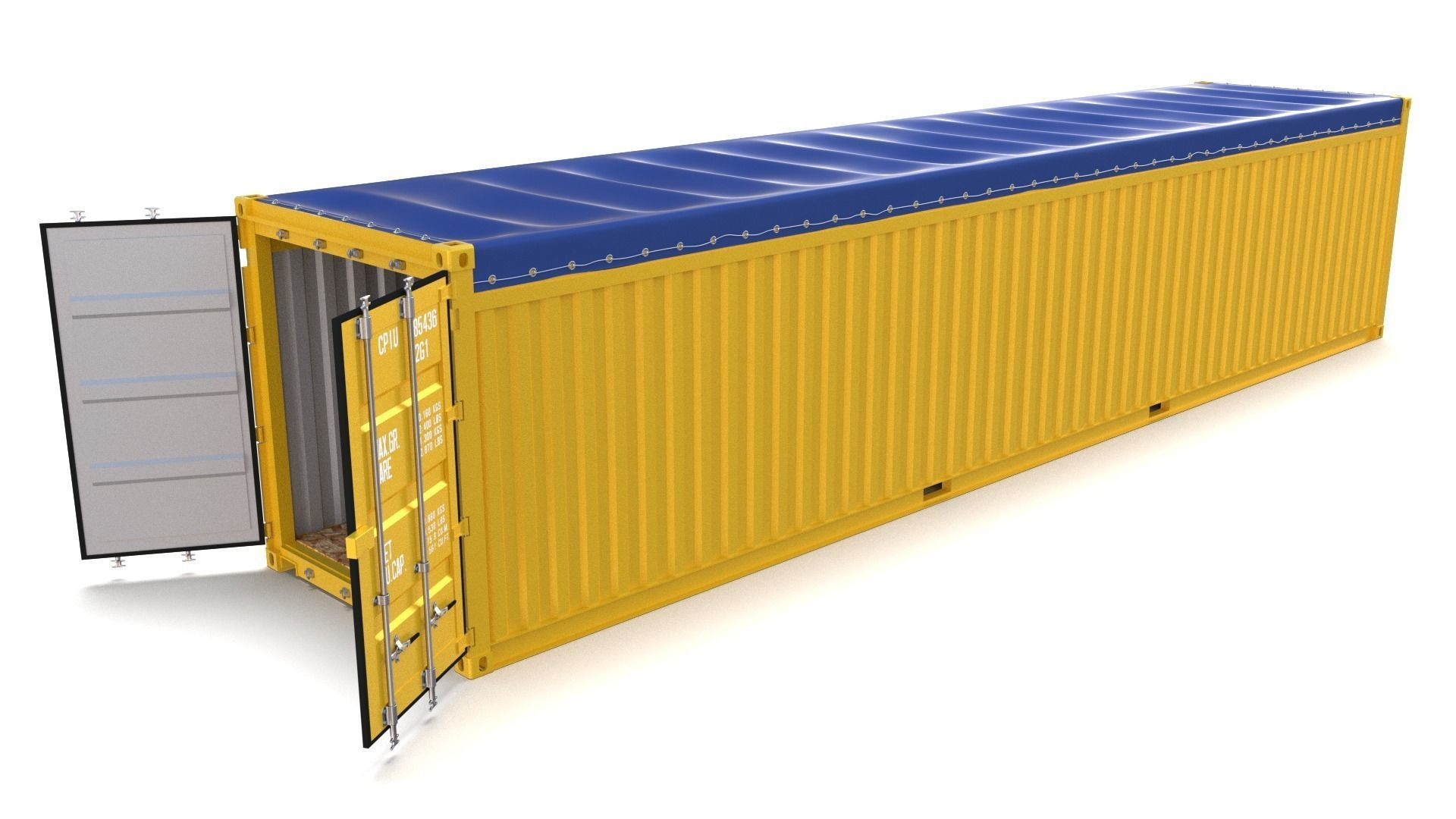 3D model 40ft Shipping Container Open Top | CGTrader