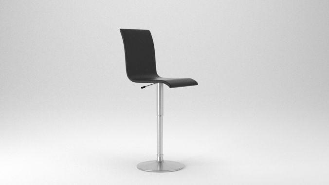 low poly bar chair 3d model obj mtl 3ds fbx blend x3d ply 1