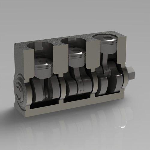 three-cylinder engine 3d model stl 1