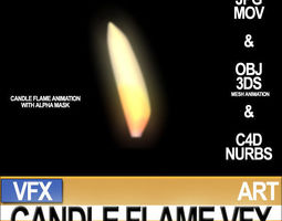 Visual FX Candle Flame Animation 90 Frames 3D Model