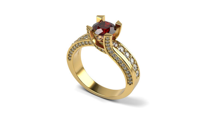 red gem full pave ring 3d model stl 1