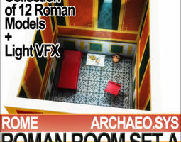 Ancient Roman Room Set A  12 Models with Candle Flame VFX 3D Model