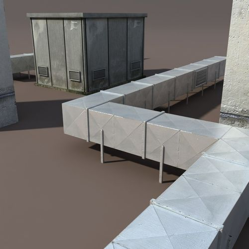 Roof Elements Low Poly 3d Model 3d Model Game Ready Max