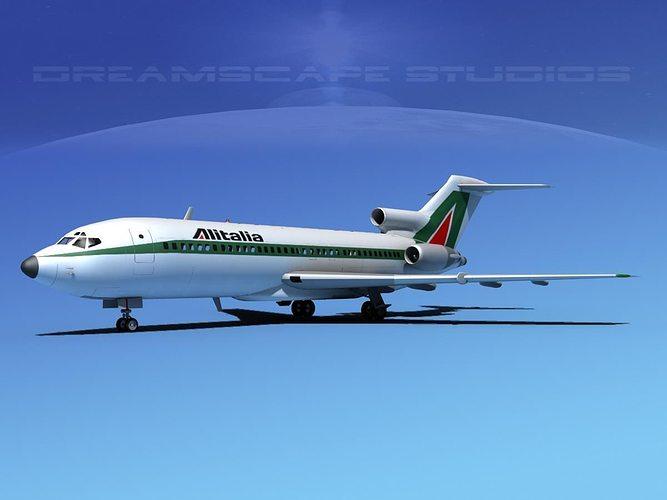 boeing 727-100 alitalia 3d model max obj 3ds lwo lw lws dxf stl 1