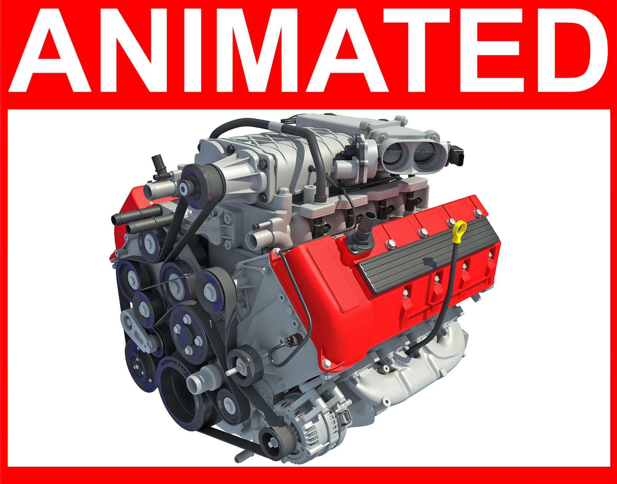 Animated V8 Engine