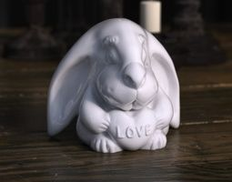 Rabbit with love heart 3D print model
