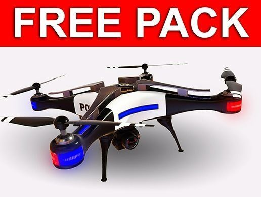FREE Professional Drone Pack and Controller VR 3D model 2