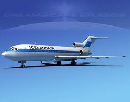 3d model boeing 727-100 iceland air rigged
