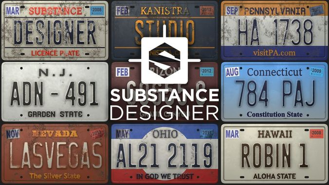 Licence Plate Substance Material 3d Model Cgtrader