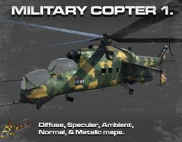 3D asset MILITARY COPTER 1