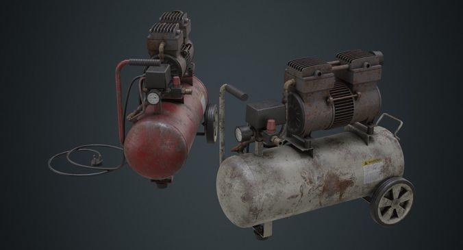 air compressor 3b 3d model low-poly obj mtl fbx blend 1