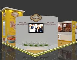 Exhibition stall 3d model 7x6 mtr 3sides open Karamat