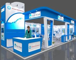 Exhibition stall 3d model 11x4 mtr 2sides open Genext