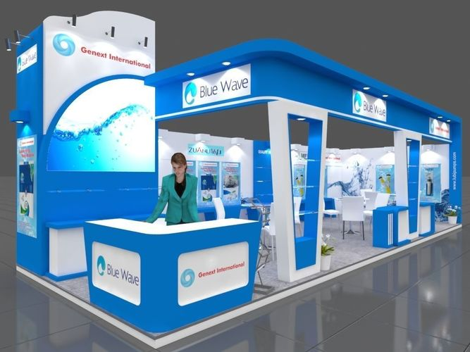 exhibition stall 3d model 11x4 mtr 2sides open genext booth 3d model max 1