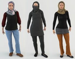 Arab Women Pack 3D model animated