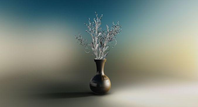 Flower and vase3D model