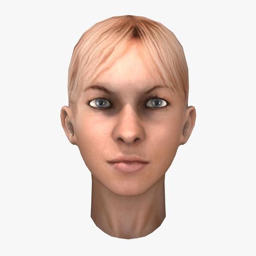 Low Poly Blonde Female Head3D model