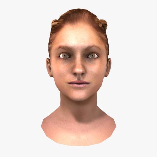 Low Poly Braided Female Head3D model